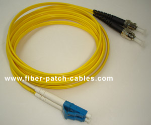 LC to ST single mode duplex fiber optic patch cable