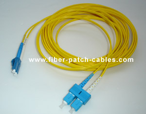 SC to LC single mode duplex fiber optic patch cable