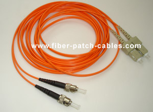 ST to SC multimode duplex fiber optic patch cable