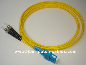 ST to SC single mode duplex fiber optic patch cable