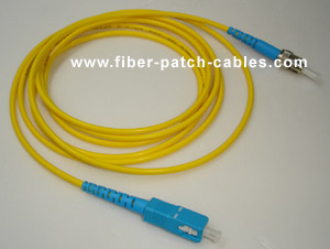 ST to SC single mode simplex fiber optic patch cable