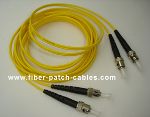 ST to ST single mode duplex fiber optic patch cable